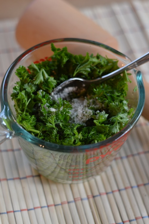 You can preserve herbs by fermentation and add probiotic goodness to salad dressings, sauces, and condiments.