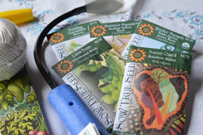 plant seeds in packages on the table