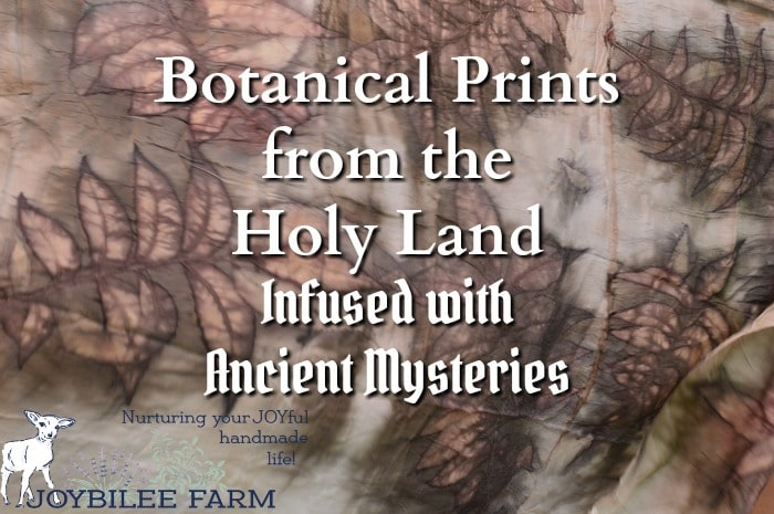 Botanical prints on natural fabric record the fulfillment of ancient prophesy, evoke a sense of place, and enhance spiritual practice while bringing beautiful fabrics to the handcraft market. Meet fiberartist Suzanne Dekel and hear about her beautiful botanical prints from Israel.