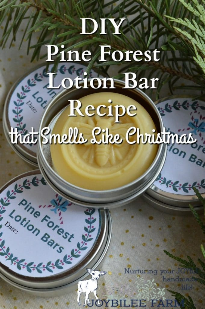 This pine forest lotion bar recipe is useful for winter dry skin, chapped lips, chapped hands and cheeks, and dry elbows. Bonus: It smells a lot like Christmas.