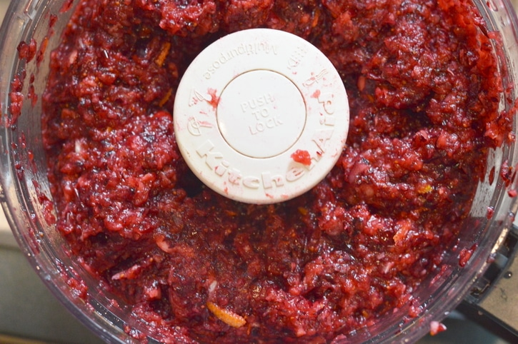 Chopped raw cranberry relish