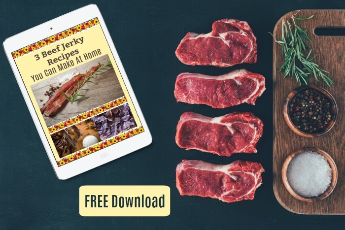 These dehydrator jerky recipes can be made with any lean red meat like beef, lamb, goat, venison, moose, or elk. Beef is the most common choice but other red meats can be used successfully.