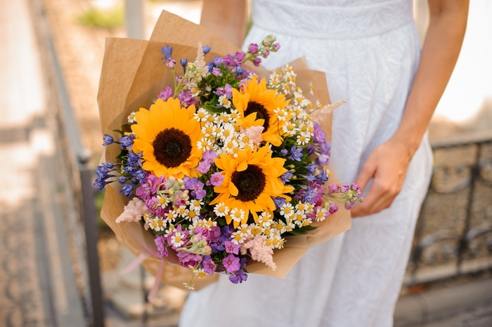 Grow the right sunflower varieties for a memorable garden wedding sunflower bridal bouquet junglespirit Images
