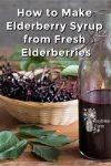 Elderberry syrup in a glass bottle and fresh elderberries in a basket