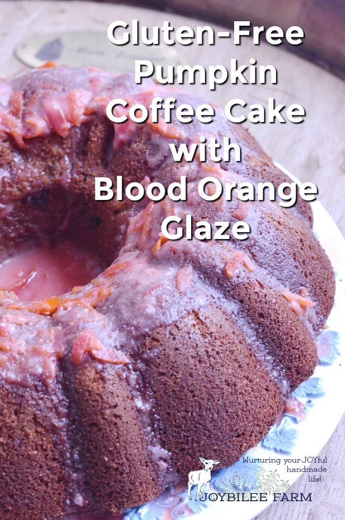 gluten free pumpkin coffee cake with blood orange glaze