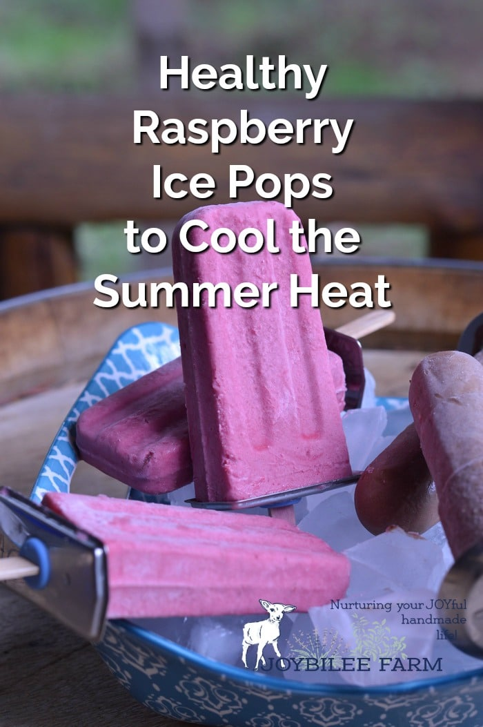 Homemade raspberry ice pops in a bowl with ice cubes