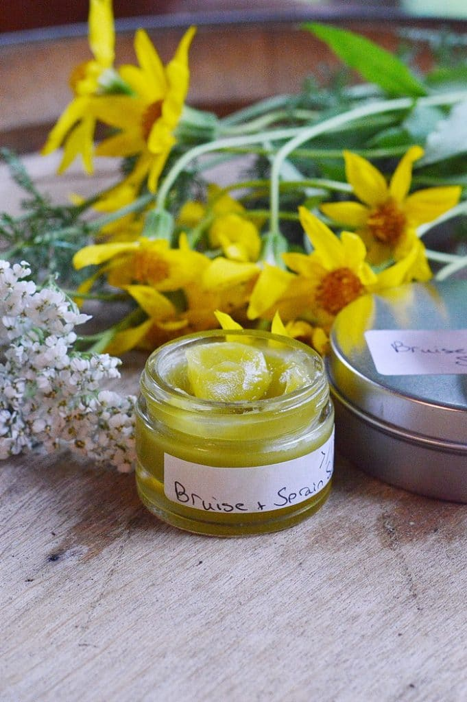 jar of arnica and yarrow ointment