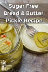 Open jar of pickles with pickles on a fork in the background