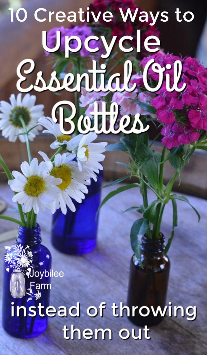 essential oil bottles used a flower vases