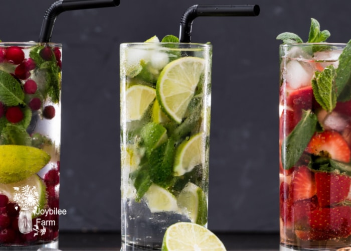 glasses of fresh herbs and seltzer with herb simple syrup