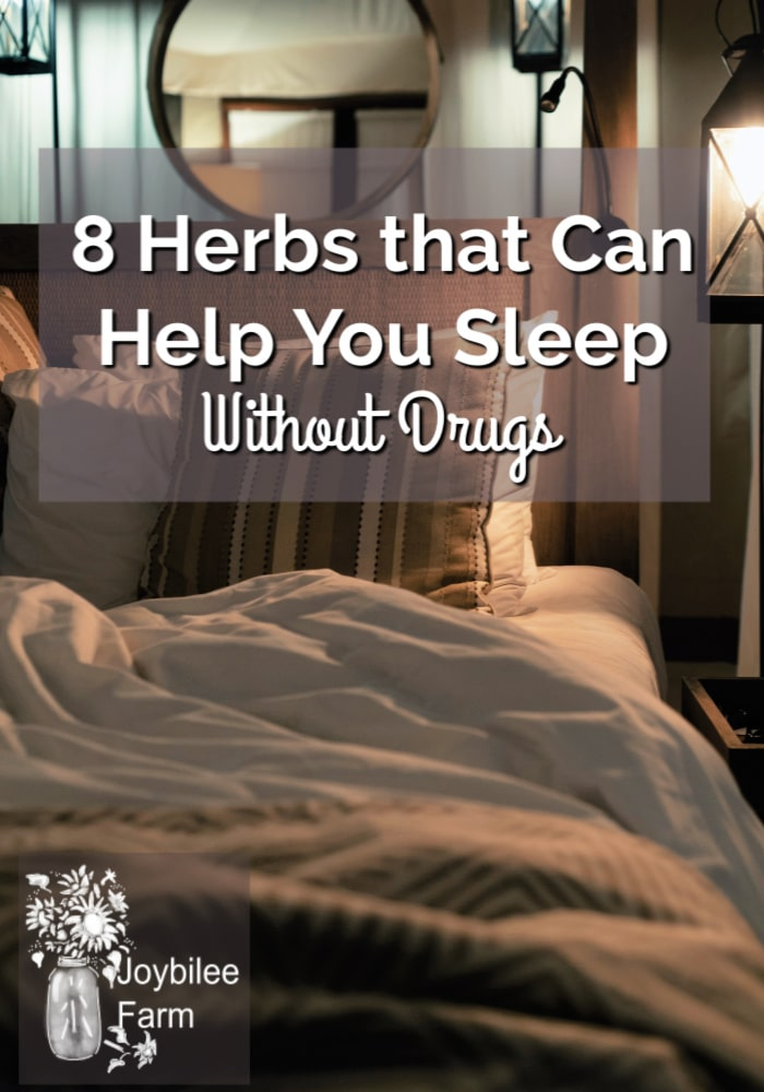 darkened bedroom with text overpay 8 herbs that can actuallyhelp you sleep without drugs