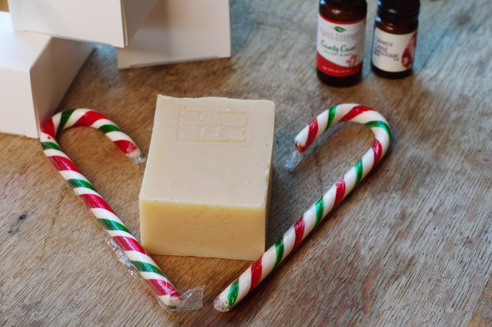 Candy cane soap with essential oils