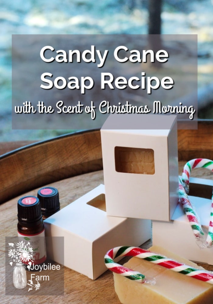 candy cane soap recipe on a table with Christmas items