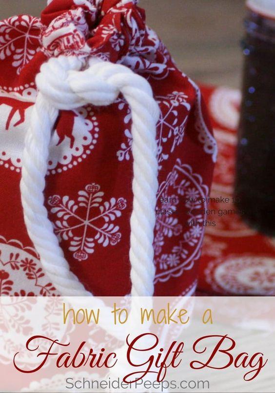 handmade fabric gift bags from Schneider Peeps