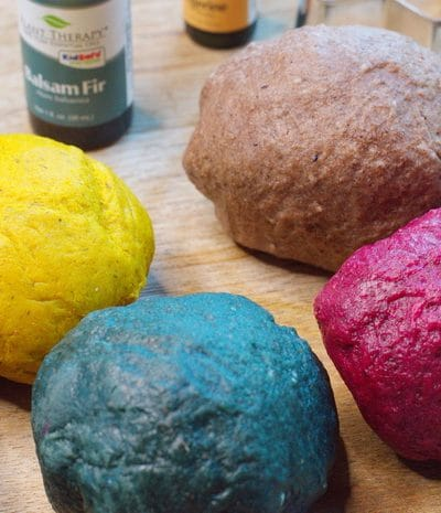 Gluten free playdough with natural dye colors