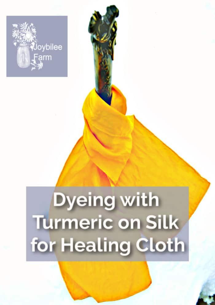 turmeric dyed silk scarf wrapped around a katana