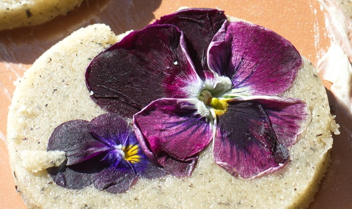 cookie close up with pansies, pre baking
