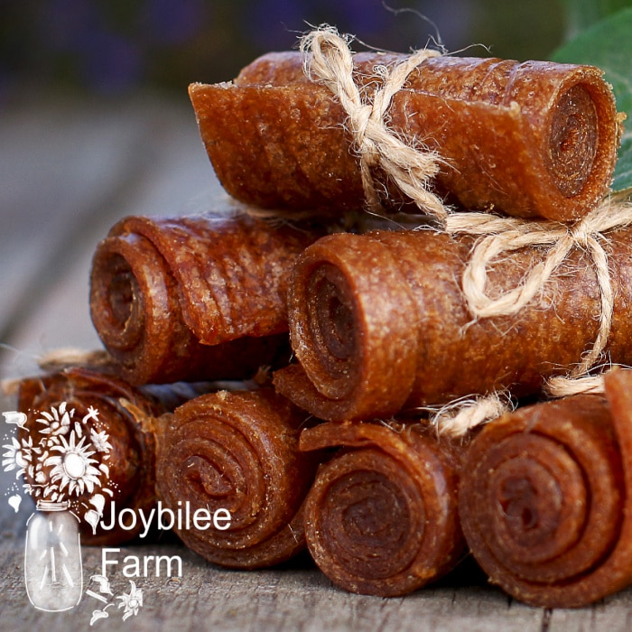 fruit leather rolls tied with twine