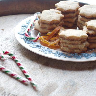 Gluten Free Shortbread Cookies with Candied Orange Peel